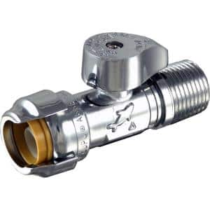 1/2 in. Push-to-Connect x 1/2 in. MIP Chrome-Plated Brass Quarter-Turn Straight Stop Valve