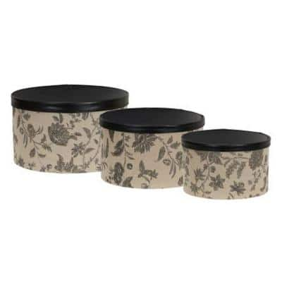 1.0 Gal. and 1/2 Qt. Round Storage Box Set in Tan and Black (3-Piece)