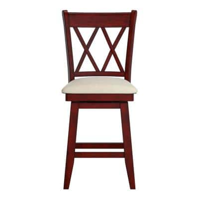 24 in. H Antique Berry Double X Back Swivel Chair with Beige Linen Seat