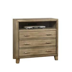 16.25 in. Gray Wooden Media Chest with 3-Drawers