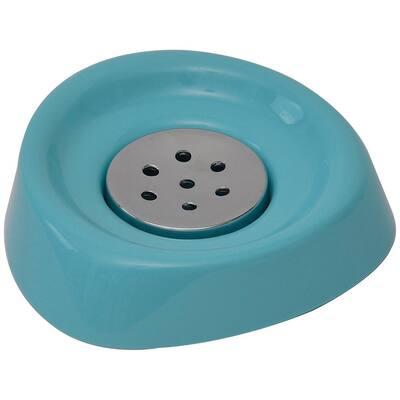 Bath Soap Dish Cup Chrome Parts Aqua Blue