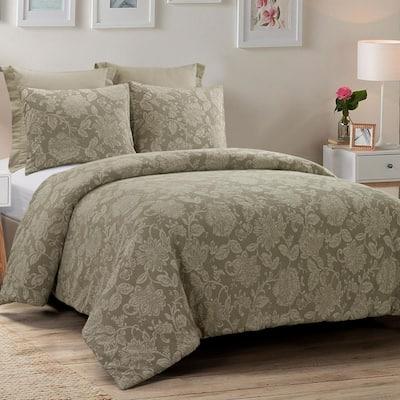 Amadora 3-Piece Taupe Cotton Queen Comforter Set