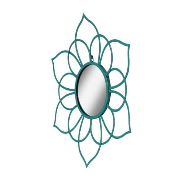Kate and Laurel - Medium Irregular Teal Contemporary Mirror (21 in. H x 24 in. W)