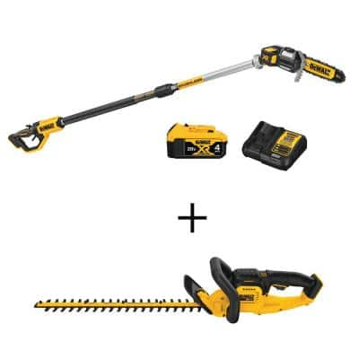 8 in. 20-Volt MAX Lithium-Ion Cordless Pole Saw Kit w/22 in. 20-Volt MAX Lithium-Ion Cordless Hedge Trimmer (Tool Only)