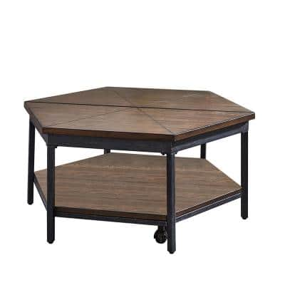 Ultimo 36 in. Brown Mocha Medium Hexagon Wood Coffee Table with Lift Top
