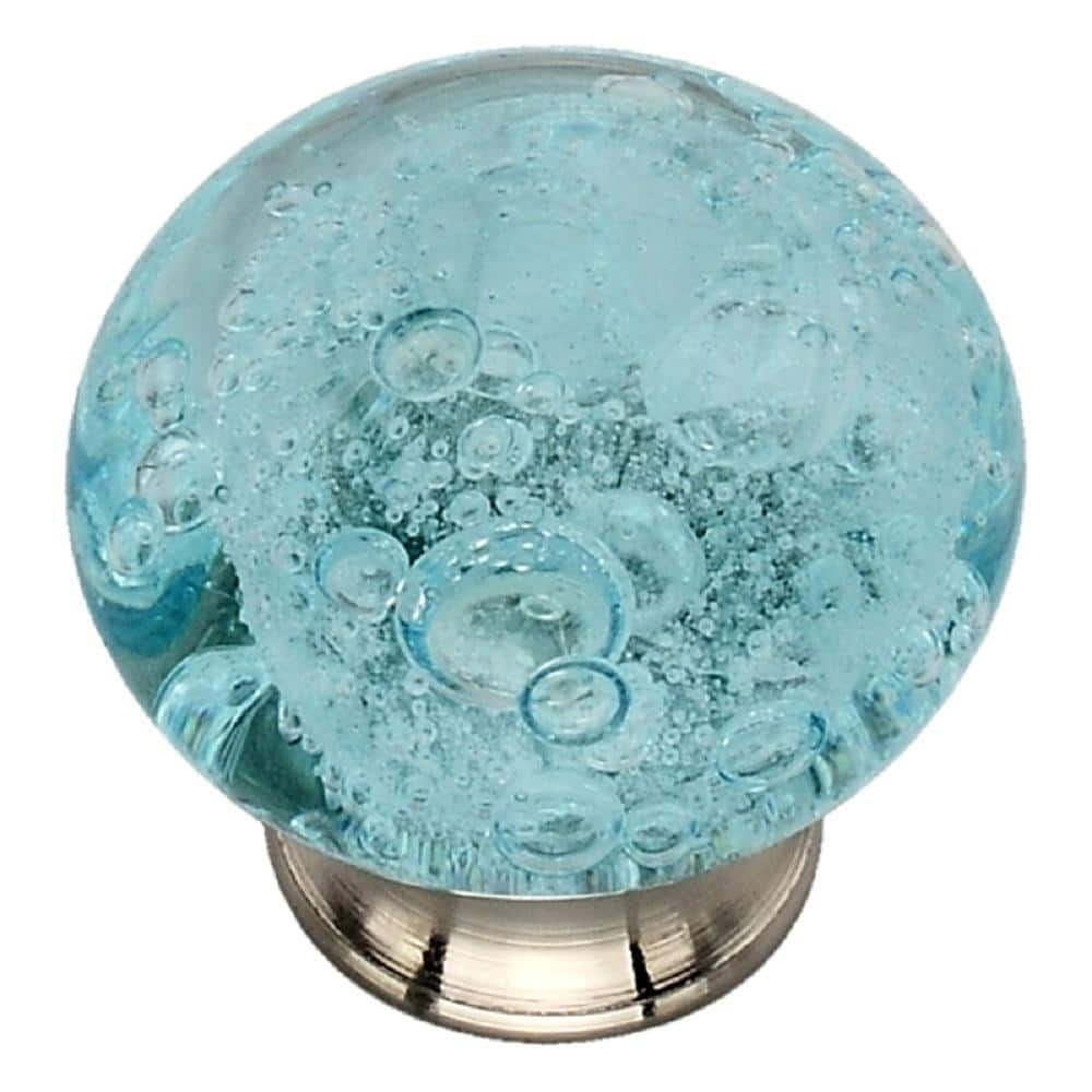 Mascot Hardware 1 1 2 In Sky Blue Bubbled Glass Cabinet Knob Ck497 The Home Depot