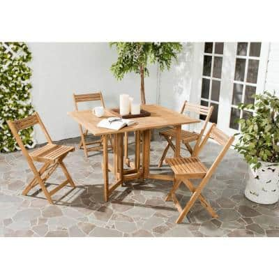 Arvin Teak Brown 5-Piece Wood Outdoor Dining Set