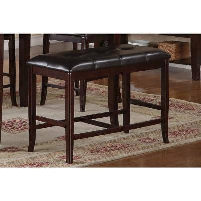 24 in. H x 38 in. W x 17 in. D Dark Rosy Brown Solid Wood and Dark Brown Faux Leather Dining Bench