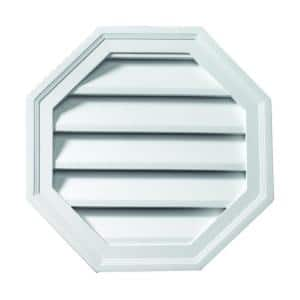 24 in. x 24 in. Functional Octagon White Polyurethane Weather Resistant Gable Louver Vent