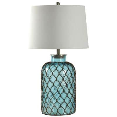 30.3 in. Blue Table Lamp with Off-White Hardback Fabric Shade
