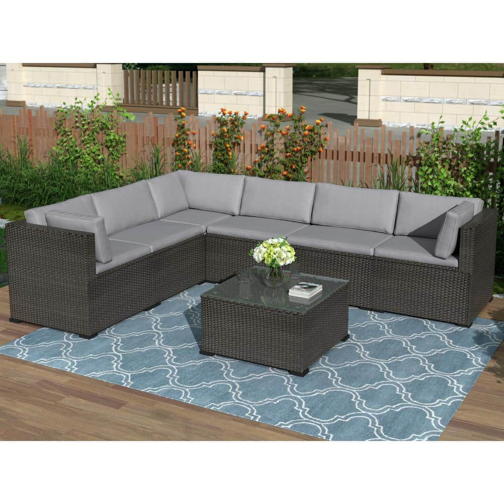 Harper Bright Designs Black 7 Piece Wicker Outdoor Sectional Set With Gray Cushions Sh000027daa The Home Depot