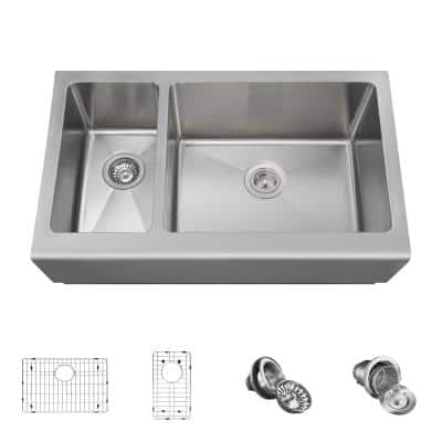 Farmhouse Apron Front Stainless Steel 33 in. Right Double Bowl Kitchen Sink with Additional Accessories
