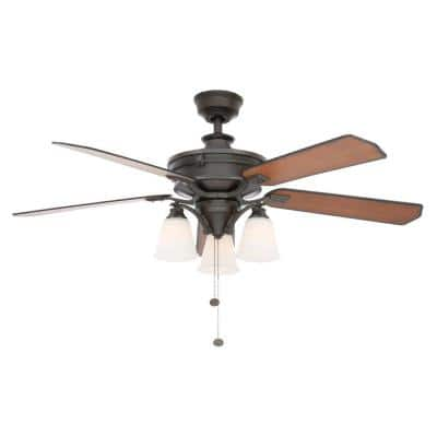 Beverley II 52 in. Indoor Natural Iron Ceiling Fan with Light Kit