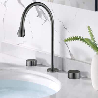 8 in. Widespread Double Handles High Arc Bathroom Faucet in Lead Gray
