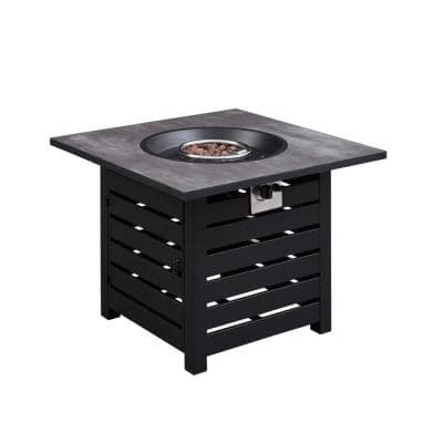 32 in. x 23.62 in. 50000 BTU Square Gray Outdoor Propane Gas Fire Pit Table