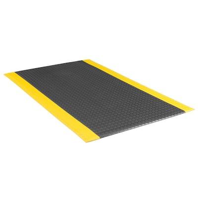 """Soft Foot 1/2"""" Diamond DLX Black/Yellow 3 Ft. x 12 Ft. Commerial Door Mat"""