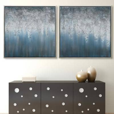 Blue Rain Textured Metallic Hand Painted by Martin Edwards Framed Abstract Diptych Set Canvas Wall Art