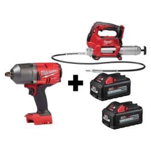 M18 FUEL 18-Volt 1/2 in. Lithium-Ion Brushless Cordless Impact Wrench with Friction Ring & Grease Gun with Two Batteries