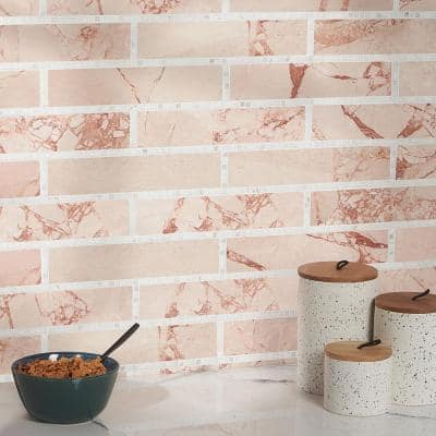 Krista Watterworth Westgate Brick Pink 11.73 in. x 16.45 in. Polished Marble Mosaic Tile (1.33 sq. ft./Each)