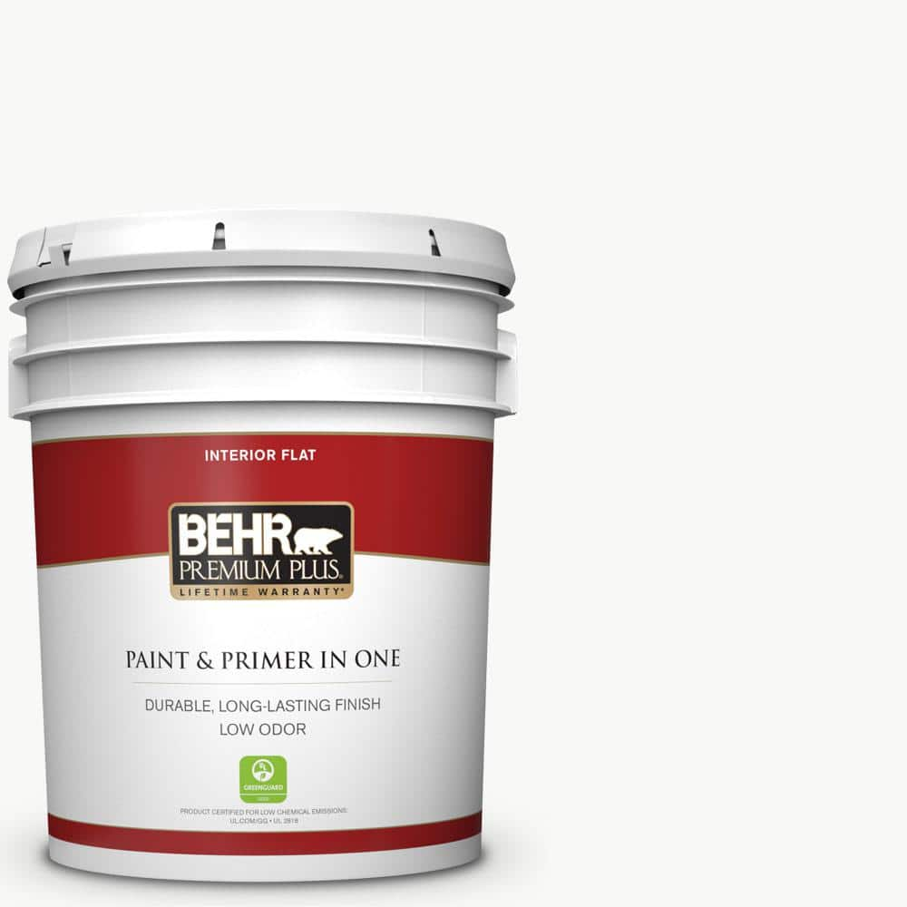 Behr Premium Plus 5 Gal Ultra Pure White Flat Low Odor Interior Paint And Primer In One 105005 The Home Depot