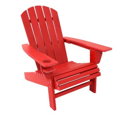 All-Weather Red Plastic Outdoor Adirondack Chair with Drink Holder