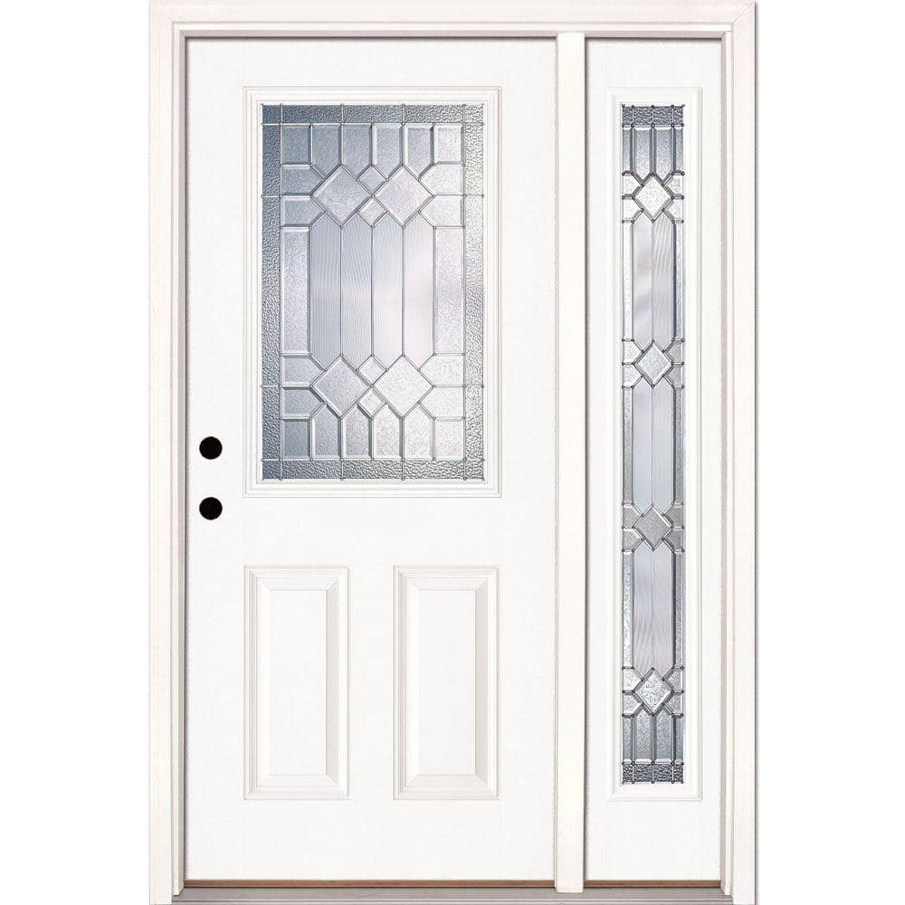 Feather River Doors 50 5 In X81 625 In Mission Pointe Zinc 1 2 Lite Unfinished Smooth Right Hand Fiberglass Prehung Front Door W Sidelite 882191 2a4 The Home Depot