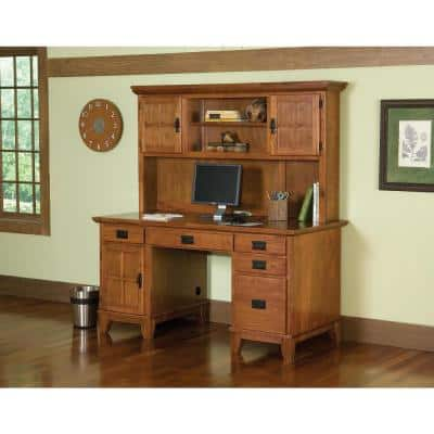 58 in. Rectangular Cottage Oak 5 Drawer Computer Desk with Solid Wood Material