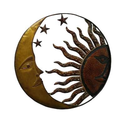Celestial Metal Sun Moon Wall Decor