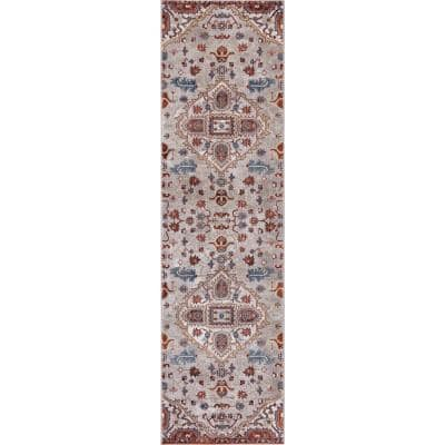 Talya Ivory/Red 2 ft. x 7 ft. Medallion Runner Rug
