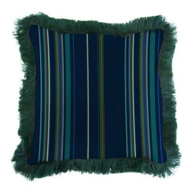 Sunbrella Stanton Lagoon Square Outdoor Throw Pillow with Forest Green Fringe