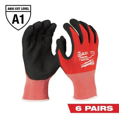 Large Red Nitrile Level 1 Cut Resistant Dipped Work Gloves (6-Pack)