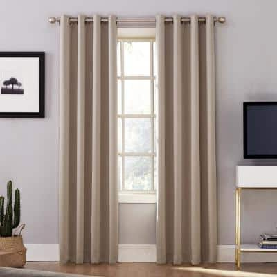Stone Woven Thermal Blackout Curtain - 52 in. W x 84 in. L