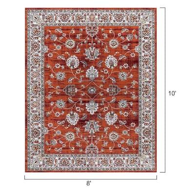 Voldemort Persian Red Orange 8 ft. x 10 ft. Indoor Rectangle Area Rug