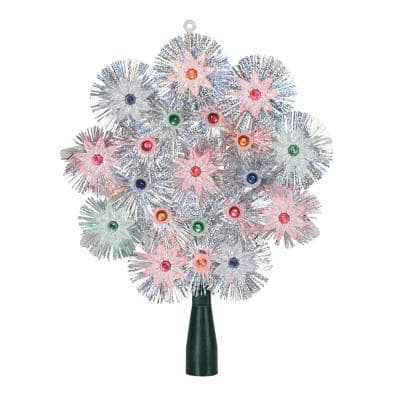 8 in. Lighted Silver Retro Starburst Christmas Tree Topper with Multi-Lights