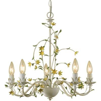 Grace 5-Light Cream Star Flower Chandelier