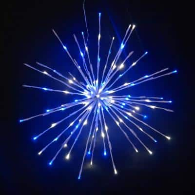 16 in. Pure White/Blue LED Christmas Spritzer