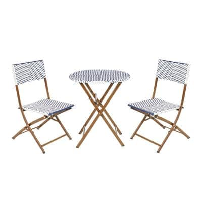 French Caf 3-Piece Wicker Outdoor Patio Folding Bistro Set