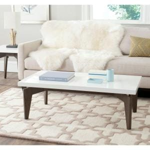 Josef 44 in. White/Dark Brown Large Rectangle Wood Coffee Table