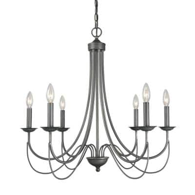 Mancos 6-light Black Highlights Modern Farmhouse Classic Candlestick Island Chandelier Pendant Light