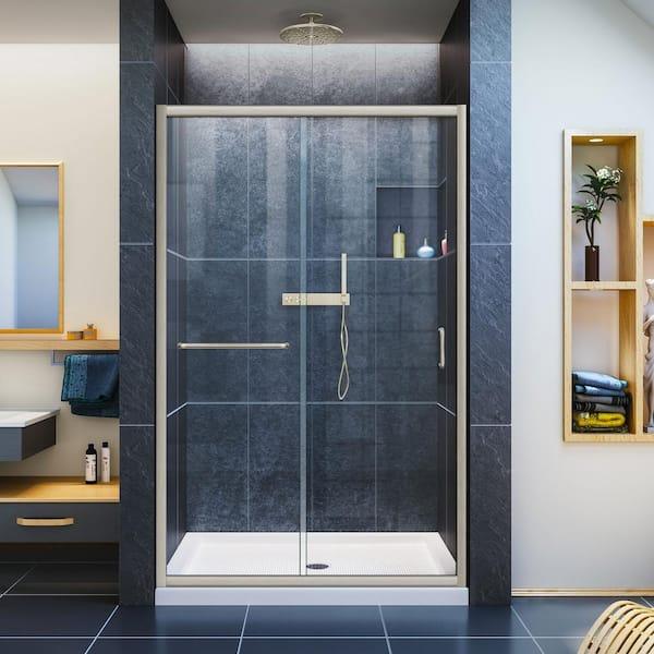 Semi Frameless Sliding Shower Door, Shower Stall Glass Doors Home Depot