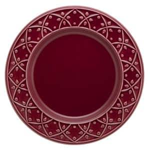 10.43 in. Mendi Maroon Red Dinner Plates (Set of 12)