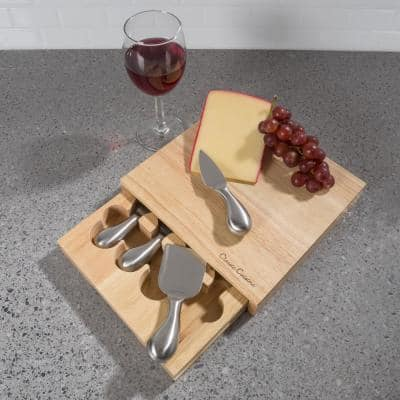 5-Piece Wooden Cheese Board with Stainless Steel Tools