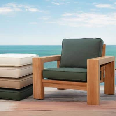 Oasis 24 in. x 26 in. Plush 2-Piece Deep Seating Outdoor Lounge Chair Cushion in Dark Olive Green