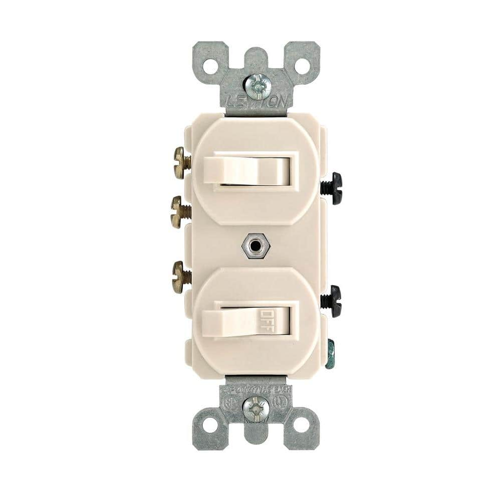 Leviton 15 Amp 3-Way Combination Double Switch, Light Almond-R66-05241-0TS  - The Home Depot   Double Three Way Switch Wiring Diagram      The Home Depot