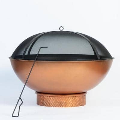 Tazon 30 in. Steel Wood Burning Fire Pit with Lid and Poker
