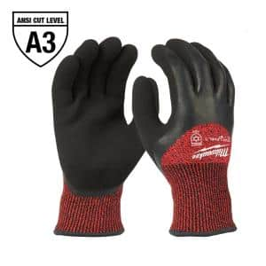 Large Red Latex Level 3 Cut Resistant Insulated Winter Dipped Work Gloves