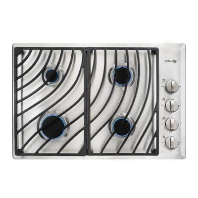 30 in. Built-in Gas Cooktop in Stainless Steel with 4 Burner Gas Hob, 30 in. Drop in Gas Cooker NG/LPG Convertible