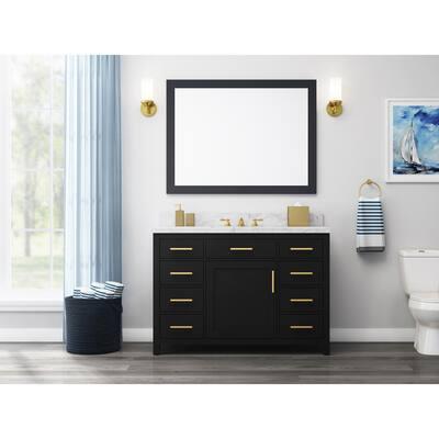 Bonheur 48 in. W x 21 in. D Vanity in Black with Ceramic Vanity Top in White with White Basin
