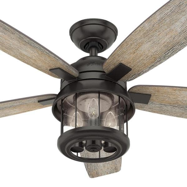 Hunter Coral Bay 52 In Led Indoor Outdoor Noble Bronze Ceiling Fan With Handheld Remote And Light Kit 59420 The Home Depot
