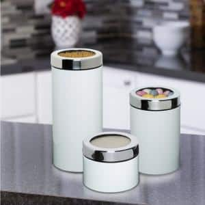 3-Piece White Metal Nested Canister Set